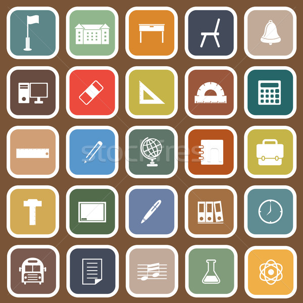 School flat icons on brown background Stock photo © punsayaporn