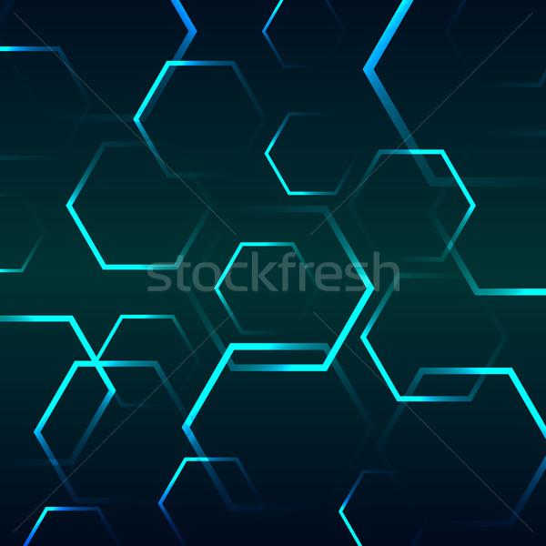 抽象的な 青 六角形 在庫 ベクトル コンピュータ ストックフォト © punsayaporn