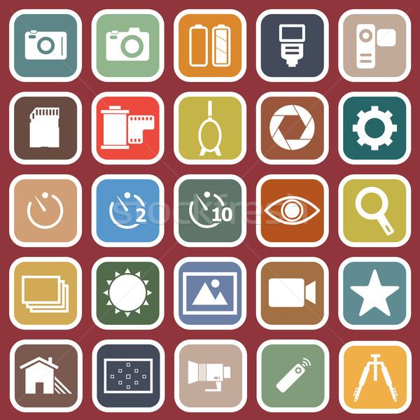 Camera flat icons on red background Stock photo © punsayaporn