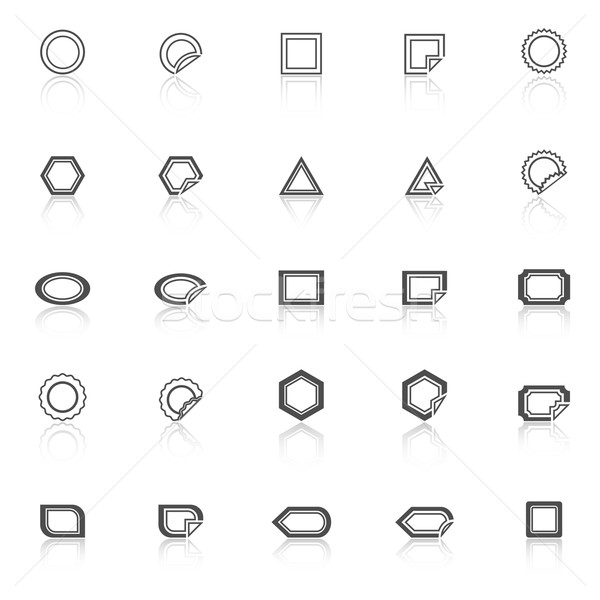Label line icons with reflect on white background Stock photo © punsayaporn