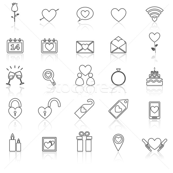 Valentine's day line icons with reflect on white Stock photo © punsayaporn