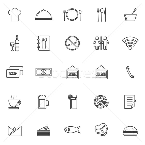 Restaurant lijn iconen witte voorraad vector Stockfoto © punsayaporn