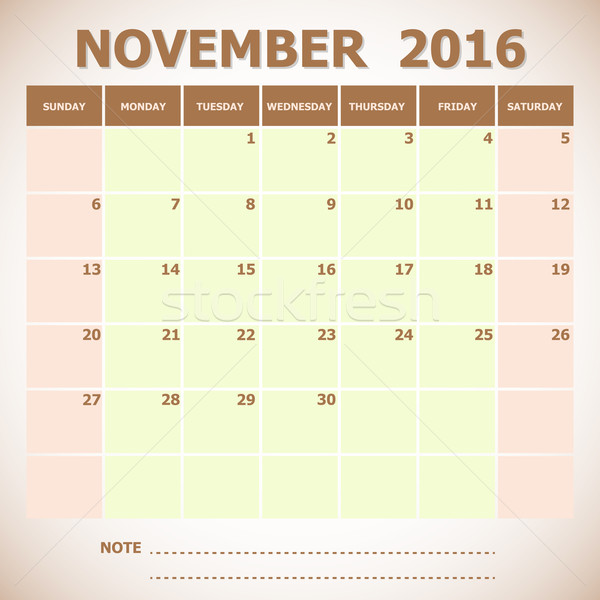 Calendar November 2016 week starts Sunday Stock photo © punsayaporn