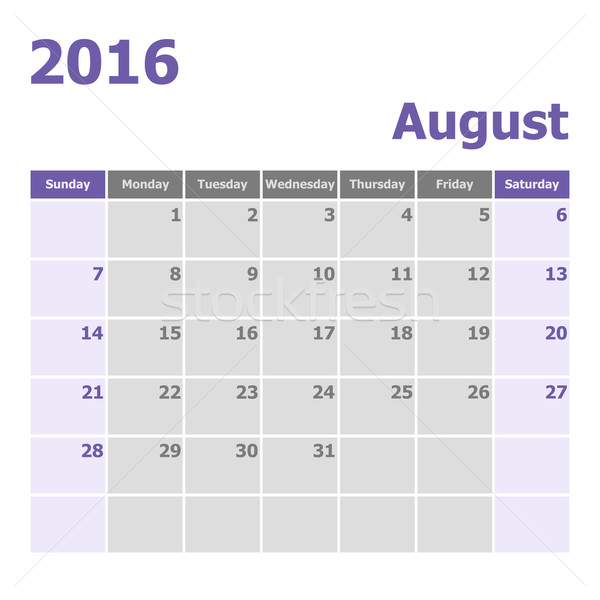 Calendar August 2016 week starts from Sunday Stock photo © punsayaporn