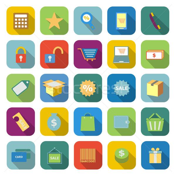 Winkelen kleur iconen lang schaduw witte Stockfoto © punsayaporn