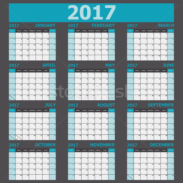 Calendar 2017 week starts on Sunday (12 months set) Stock photo © punsayaporn