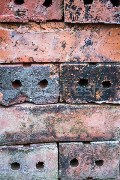 Vieux rouge mur de briques orange wallpaper concrètes Photo stock © punsayaporn