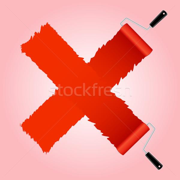 Red cross symbol from paint roller brush Stock photo © punsayaporn