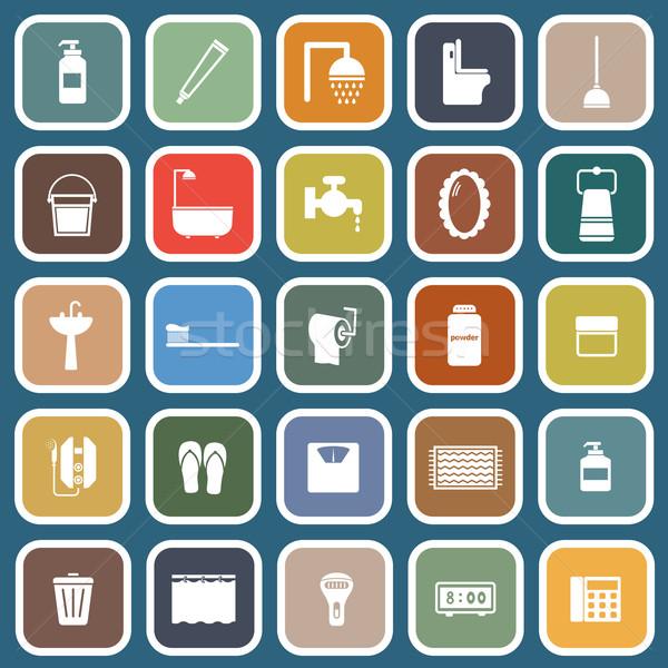 Bathroom flat icons on blue background Stock photo © punsayaporn