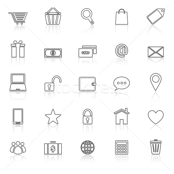 Ecommerce line icons with reflect on white Stock photo © punsayaporn