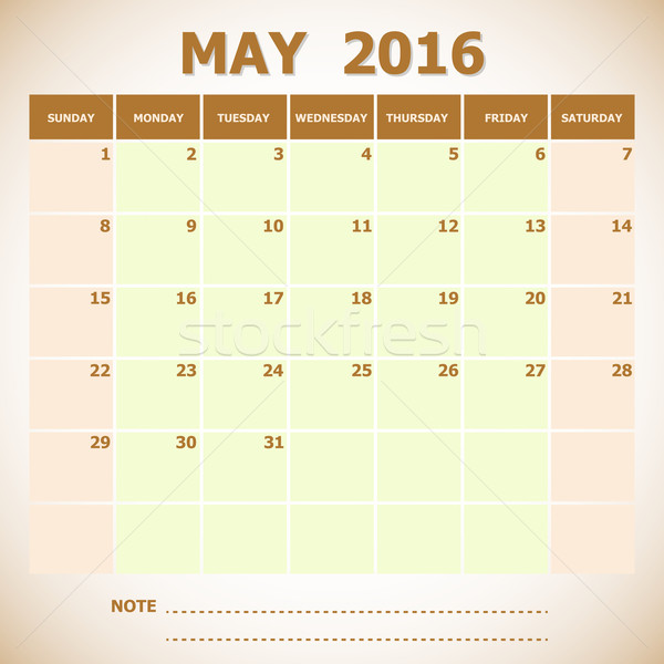 Calendar May 2016 week starts Sunday Stock photo © punsayaporn