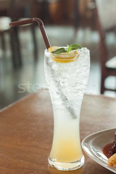 üveg jeges méz citrom üdítő stock Stock fotó © punsayaporn