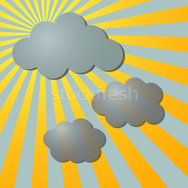 Clouds and sun radial rays Stock photo © punsayaporn