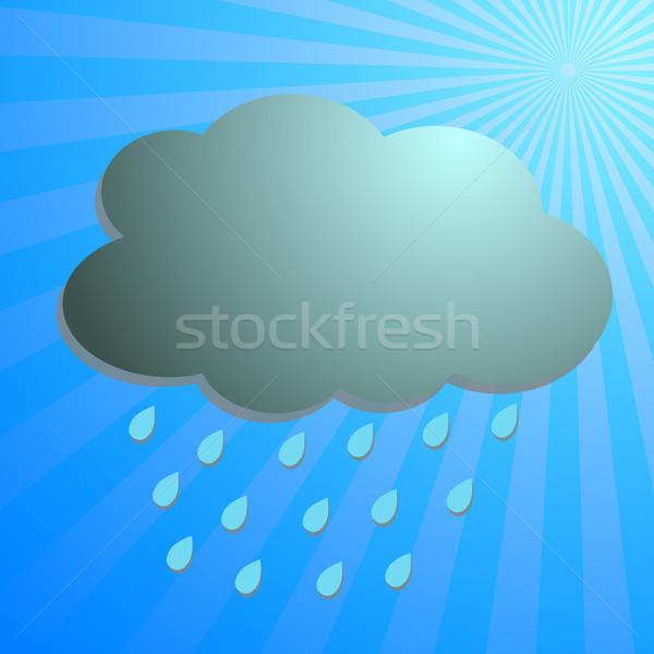 Clouds and rain drop with blue rays Stock photo © punsayaporn