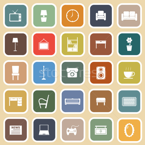 Living room flat icons on light background Stock photo © punsayaporn