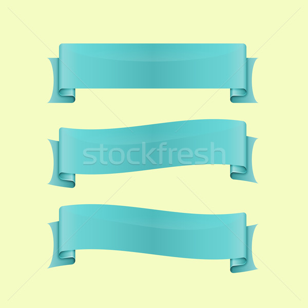 Set of blue sleek web ribbon Stock photo © punsayaporn