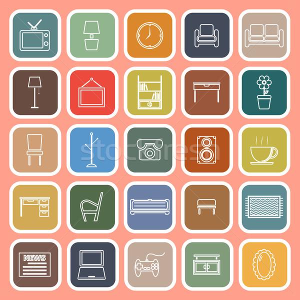 Living room line flat icons on orange background Stock photo © punsayaporn