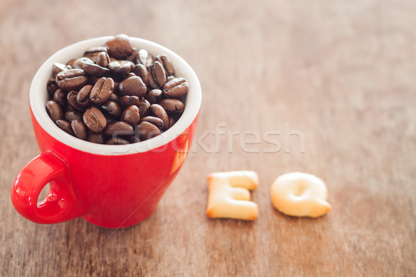 EQ alphabet biscuit with red coffee cup Stock photo © punsayaporn