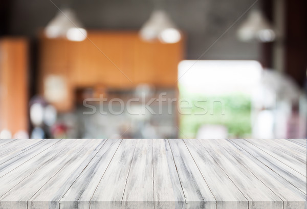 Abstract Blur coffeeshop witte tabel top Stockfoto © punsayaporn