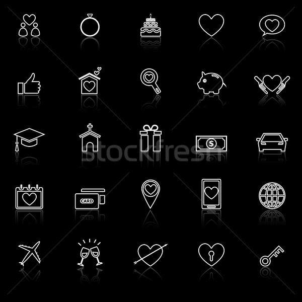 Family line icons with reflect on black background Stock photo © punsayaporn