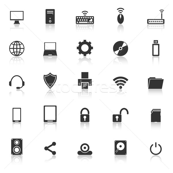 Stock photo: Computer icons with reflect on white background