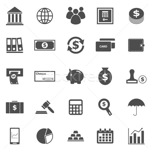 Banking icons on white background Stock photo © punsayaporn