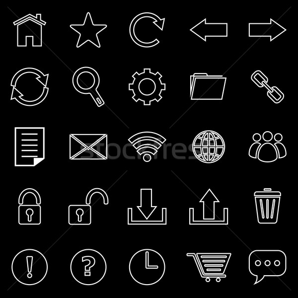 Stock photo: Tool bar line icons on black background