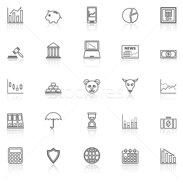 Stock market line icons with reflect on white Stock photo © punsayaporn