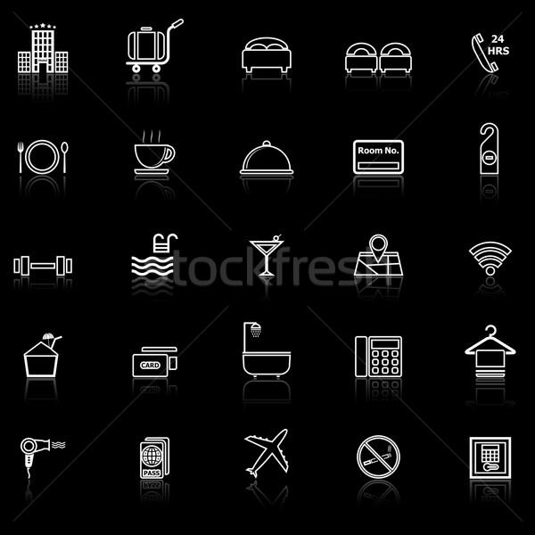 Hotel line icons with reflect on black Stock photo © punsayaporn