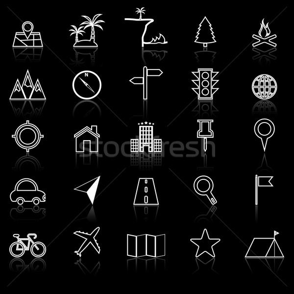 Ubicación línea iconos negro stock vector Foto stock © punsayaporn