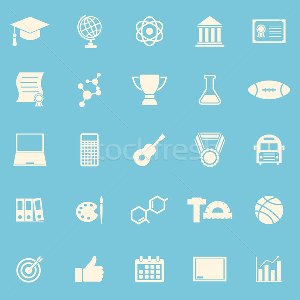 College color icons on blue background Stock photo © punsayaporn
