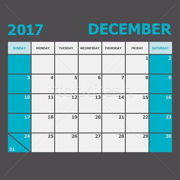 Dezembro calendário semana estoque vetor escritório Foto stock © punsayaporn