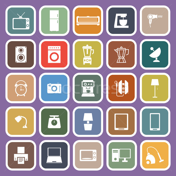 Household flat icons on purple background Stock photo © punsayaporn