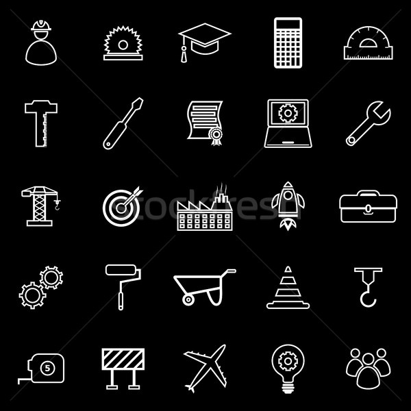 Engineering line icons on black background Stock photo © punsayaporn