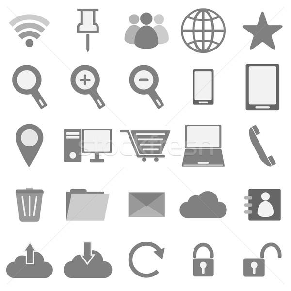 Internet pictogrammen witte voorraad vector telefoon laptop Stockfoto © punsayaporn