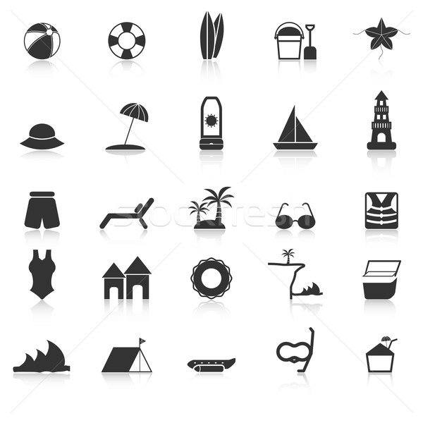 Beach icons with reflect on white background Stock photo © punsayaporn