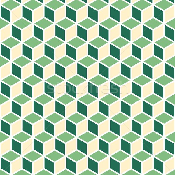 Abstract isometric green cube pattern background Stock photo © punsayaporn
