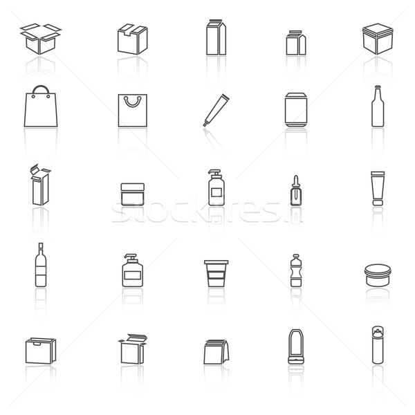 Packaging line icons with reflect on white background Stock photo © punsayaporn