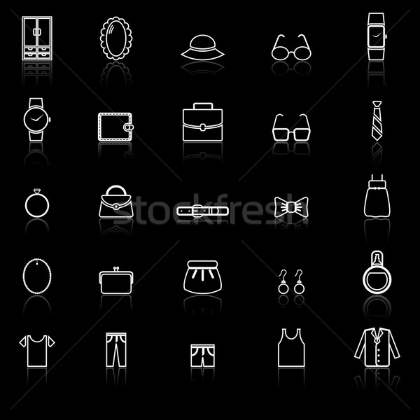 Dressing line icons with reflect on black Stock photo © punsayaporn