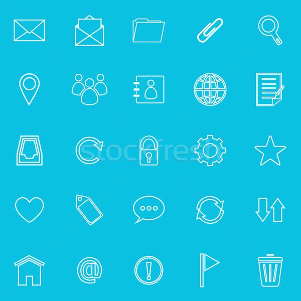 Stock fotó: Posta · vonal · ikonok · kék · stock · vektor