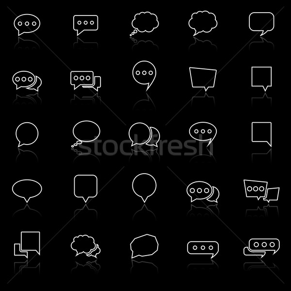 Speech Bubble line icons with reflect on black background Stock photo © punsayaporn
