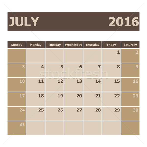 Kalender 2016 week voorraad vector kleur Stockfoto © punsayaporn