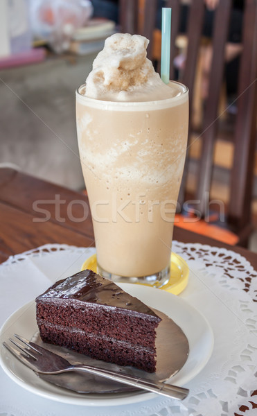 A set of coffee frappe and chocolate cake Stock photo © punsayaporn