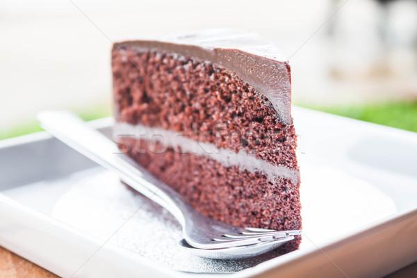 巧克力 乳蛋糕 蛋糕 勺子 叉 商業照片 © punsayaporn
