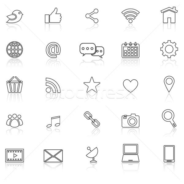 Stock fotó: Közösségi · média · vonal · ikonok · fehér · stock · vektor