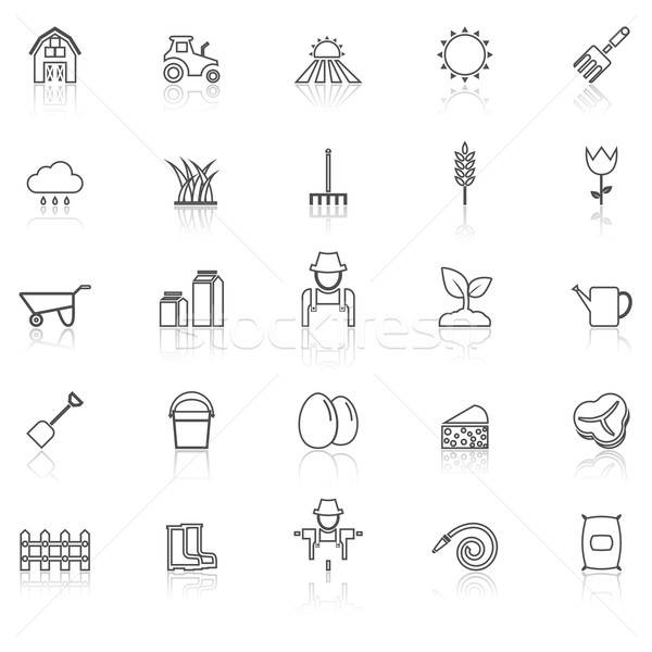 Farming line icons with reflect on white Stock photo © punsayaporn