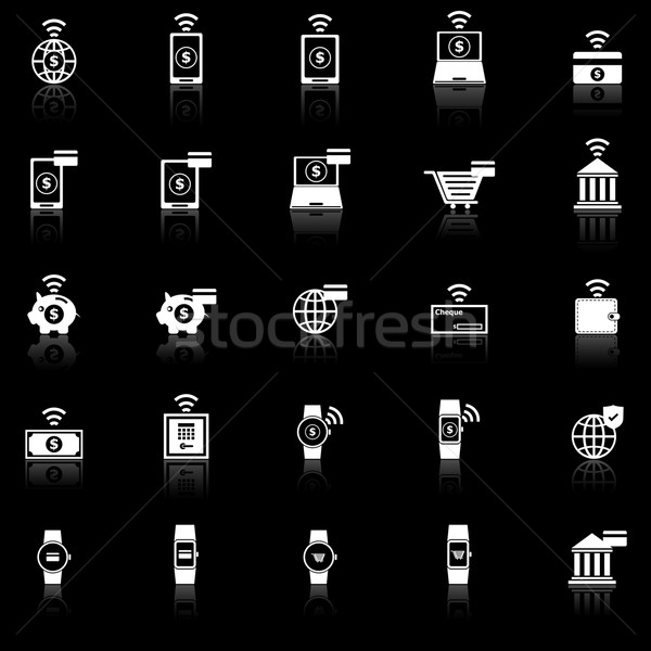 Fintech icons with reflect on black background Stock photo © punsayaporn