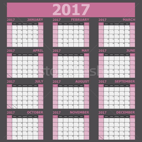 Calendario semana rosa stock vector oficina Foto stock © punsayaporn