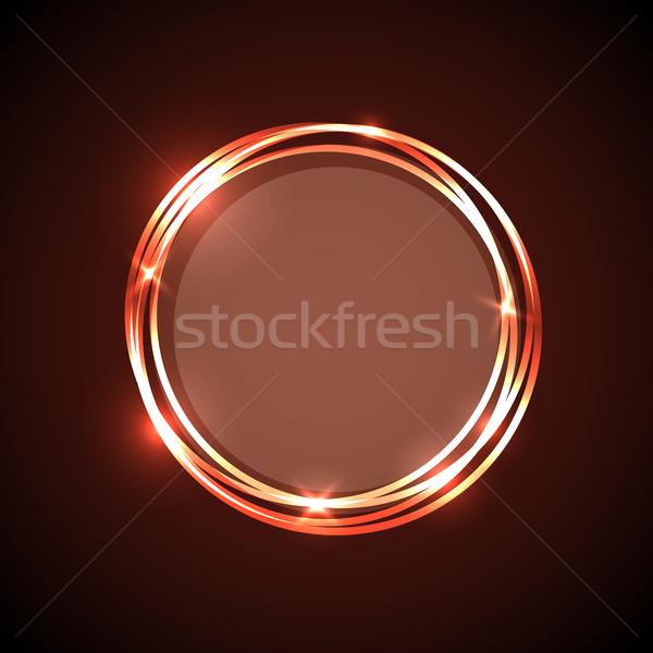 Soyut turuncu neon circles afiş stok Stok fotoğraf © punsayaporn