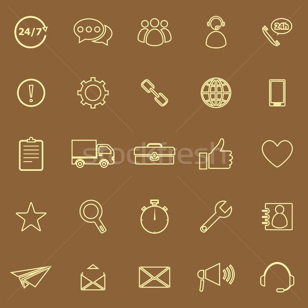 Customer service line color icons on brown background Stock photo © punsayaporn